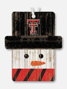 Texas Tech Snowman Wooden Ornament