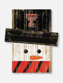 "Texas Tech Wooden Snowman 5""x 6"""