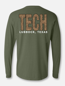Texas Tech TECH Block in Cheetah Long Sleeve T-Shirt