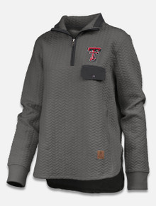 "Pressbox Texas Tech Red Raider ""Caribou"" Cable Knit 1/4 Zip Pullover"