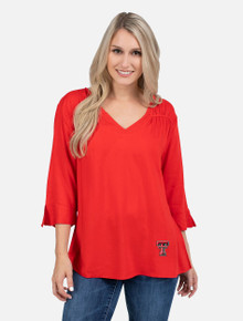 "UG Apparel Texas Tech Red Raiders ""The Flare"" Asymmetrical Blouse"