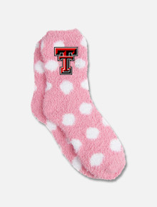 Texas Tech Red Raider Pink and White Polka Dot Fuzzy YOUTH Socks