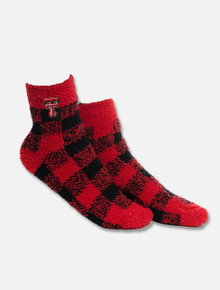 Texas Tech Red Raider Red and Black Plaid Fuzzy YOUTH Socks
