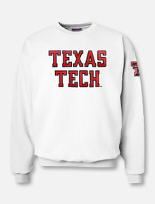 "Texas Tech ""Rugged Football"" Font Twill with Sleeve Print Crew Sweatshirt"