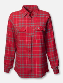 "Antigua Texas Tech Red Raiders ""Stance"" Women's Plaid Button Up Shirt in Red & Grey"