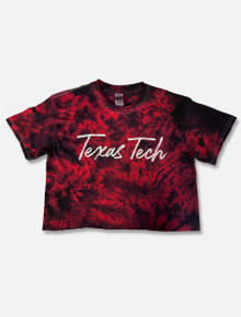 "Texas Tech Red Raiders ""Brush Stroke"" Script Tie Dye Crop Top"