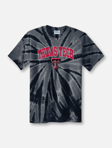 Texas Tech Red Raiders Arch Over Double T Tie Dye T-Shirt in Black front