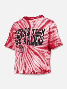 """Press Box Texas Tech Red Raiders """"Psychedelic"""" Crop Top in Red"""