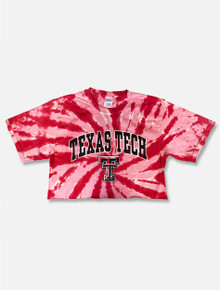 Texas Tech Red Raiders Arch Over Double T Tie Dye Crop Top