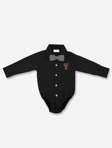 Texas Tech Red Raiders Infant Button Down Solid Onesie with Gingham Bowtie Onesie