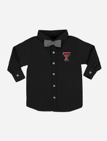 Texas Tech Red Raiders Toddler Solid Button Down Shirt with Gingham Bowtie