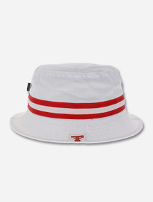 Texas Tech Red Raiders Throwback Double T with Red and White Ribbon Bucket Hat