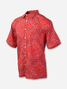 """Wes & Willy Texas Tech Red Raiders Double T """"Paisley"""" Button Up Dress Shirt"""