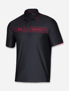 """Texas Tech Red Raiders Under Armour 2021 Coaches Sideline """"Road Game"""" Chest Stripe Polo in Black"""
