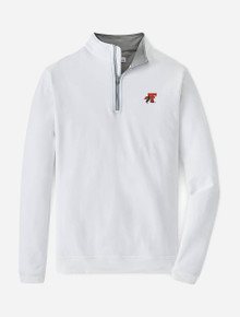 """Peter Millar Texas Tech Red Raiders """"Horse and Rider"""" Solid White Perth Quarter Zip"""