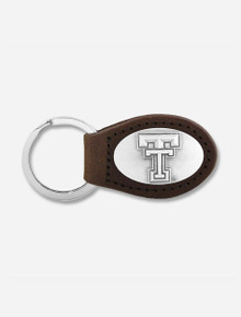 Texas Tech Red Raiders Double T Leather Keychain with Metal Concho