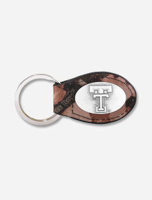 """Texas Tech Red Raiders Double T """"Camo"""" Leather Keychain with Metal Concho"""