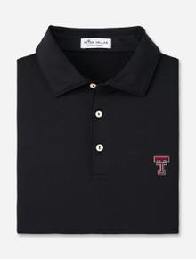 Peter Millar Texas Tech Solid Peformance Black Jersey Polo