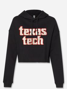 """Texas Tech Red Raiders """"Woodlands"""" Black Crop Top Hoodie"""