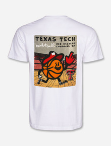 """Texas Tech Red Raiders """"Basketball Toon Sports"""" Comfort Color White T-Shirt"""