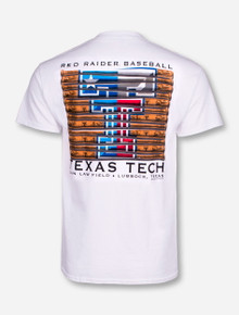 Texas Tech Baseball Bat on White T-Shirt