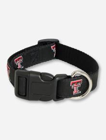 Texas Tech Double T on Black Dog Collar