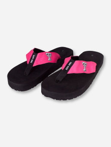 Texas Tech Neon Pink Strap on Black Flip Flops