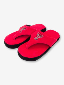 Texas Tech Double T on Red & Black Flip Flop Fuzzy Slippers