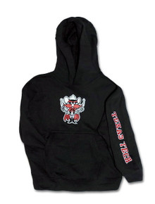 Texas Tech Raider Red & Sleeve Print on YOUTH Black Hoodie