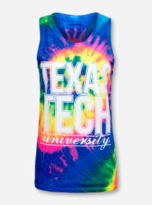 Rainbow Tie Dye Texas Tech University Tank Top