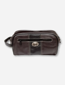 Texas Tech Double T Emblem on Brown & Black Leather Toiletry Bag