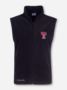 "Texas Tech Columbia ""Flanker"" with Double T on Black Fleece Vest"