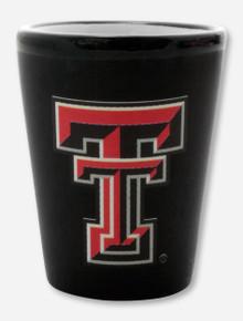 Texas Tech Double T on Black Ceramic Shot Glass