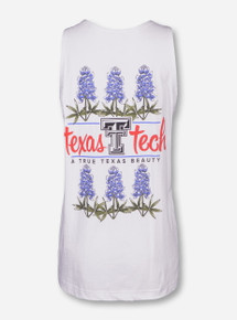 Texas Tech Bluebonnet on White Tank Top