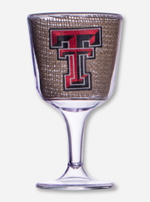 Texas Tech Double T on Burlap Wine Goblet