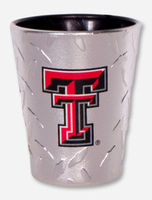 Texas Tech Double T on Diamond-Patterned Shot Glass