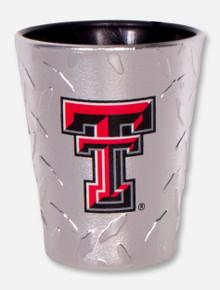 Texas Tech Double T on Diamond-Patterned Shot Glass