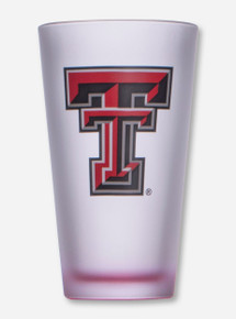 Texas Tech Double T on Frosted Pint Glass