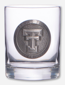 Texas Tech Heritage Pewter Double T Emblem on Cocktail Glass