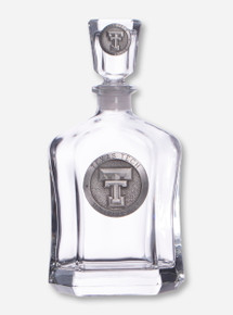 Texas Tech Heritage Pewter Double T Emblem on Liquor Decanter