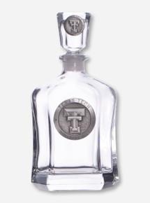 Texas Tech Heritage Pewter Double T Emblem on Liquor Decanter