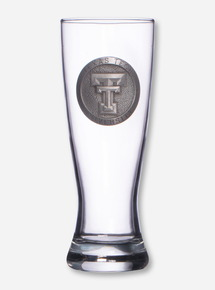 Texas Tech Heritage Pewter Double T Emblem on Pilsner Glass