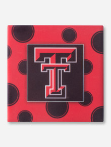 Texas Tech Double T on Polka Dot Patterned Black Coaster