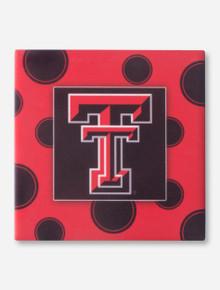 Texas Tech Double T on Polka Dot Patterned Black Coaster