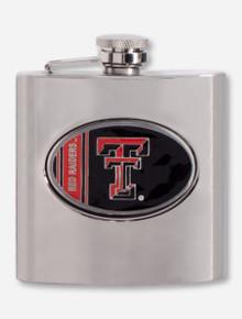 Texas Tech Enamel Double T Emblem on Stainless Steel Flask
