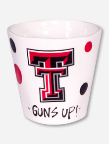 Texas Tech Hand Painted Double T & Polka Dots on Ivory Coffee Mug