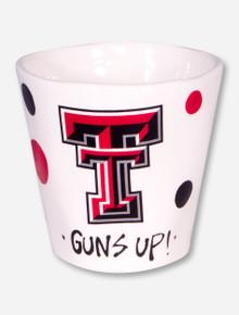 Texas Tech Hand Painted Double T & Polka Dots on Ivory Coffee Mug