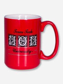 Texas Tech Mom Flourish Block on Red Coffee Mug
