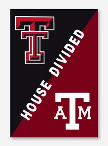 "House Divided: TTU/A&M Black & Maroon 28"" x 44"" Flag"
