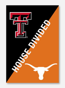 """House Divided: TTU/UT Black & Orange 28"""" x 44"""" Flag"""